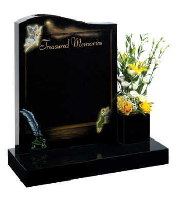 Black granite children's headstone with magical fairy-tale design.