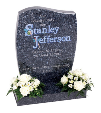 Blue pearl granite children's headstone with fairy-tale images combined with unique lettering.