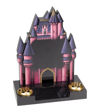 Black granite children's headstone with detailed princess castle.