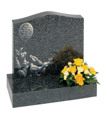 South African dark grey granite children's headstone with lullaby inspired design.