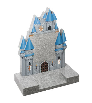 Sera grey granite children's headstone with boy's style prince castle design.