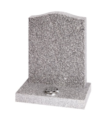 Honed Cornish Granite memorial of simple Ogee shape and center flower container