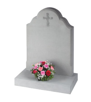 Serena stone headstone with elegant cross carving.
