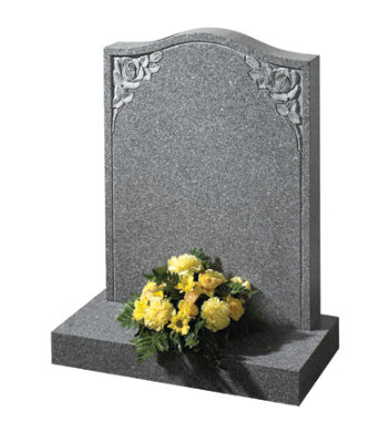 Honed cathay light grey granite gravestone with twin rose carving.