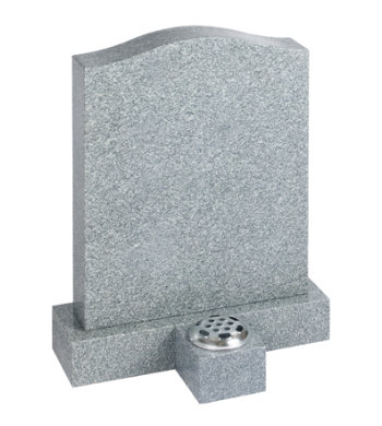 Honed indian grey granite headstone with a block base and small granite vase.