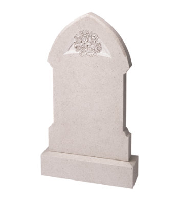 Nebresina headstone with a majestic posy design carved top center.