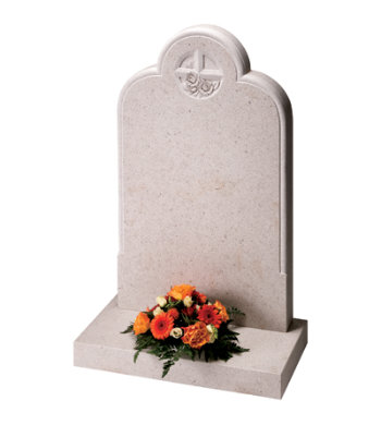 Nebresina gravestone with moulded edges and decorative floral cross carving.