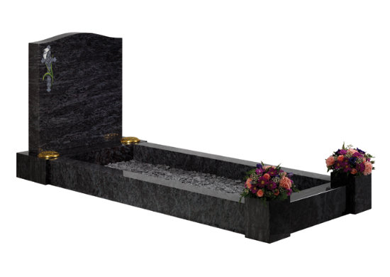 Lavender blue granite kerb memorial with simplistic kerbs and posts that accept flower containers.