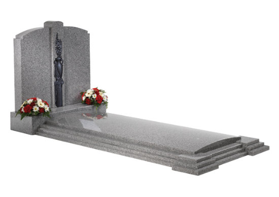Cathay light grey granite kerb memorial with full cover slab, stepped kerbs and decorative ornamentation.