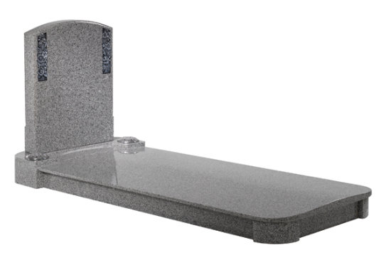 Oriental light grey granite kerb memorial with contemporary curves to both headpiece and cover slab.
