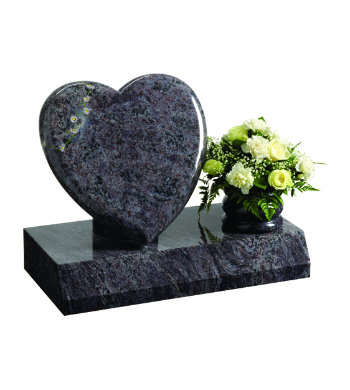 Lavender blue granite headstone with elegant heart headpiece and rose bowl.