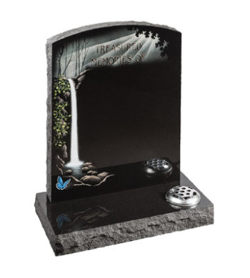 Black granite headstone of camber top shape with pitched edges and waterfall design.
