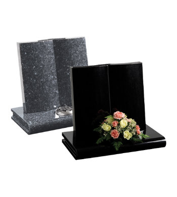 Blue pearl granite headstone with fully carved reclining book.