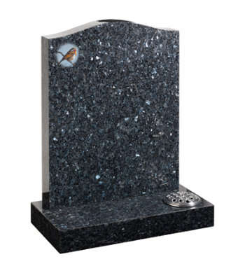 Blue pearl granite headstone with ogee top and Robin design.
