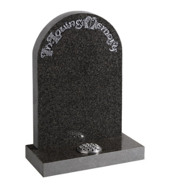 South African dark grey granite headstone with half round top and Celtic lettering.