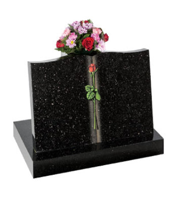Star galaxy granite headstone with reclining book shape and tall vase.