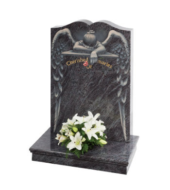 Lavender Blue granite headstone with heart ogee top and lamenting angel design.