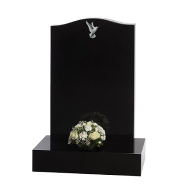 Black granite headstone with ogee top, 6inch base and taller head plate.