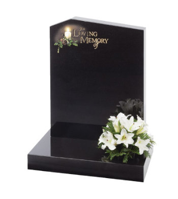 Black granite headstone with off-set pion top and eternal flame design.