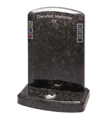 Butterfly blue granite headstone with stylish chamfers front and back.