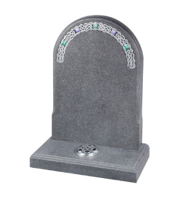 Honed south African dark grey granite headstone with decorative mouldings front and back.