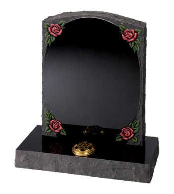 Black granite headstone of pitched sides and back with raised panel and roses.