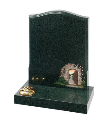 Evergreen granite headstone of ogee top with decorative moulding.