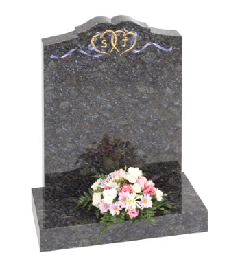 Butterfly blue granite headstone with entwined jewellery influenced hearts.