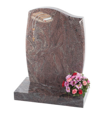 Paradiso granite headstone of half ogee top with barrel sides and tapered chamfers.