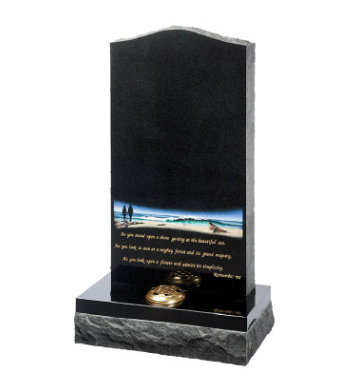 Black granite headstone of ogee top with pitched edges and dual finish base.