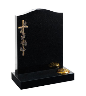 Black granite headstone of ogee top with cross design.