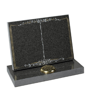South African dark grey granite headstone with book carving on tablet style headpiece.