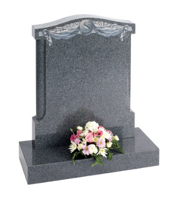 Chinese rustenburg granite headstone of ogee top with pillar sides.