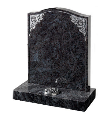 Lavender blue granite headstone of ogee top with deep carved roses and pin line.