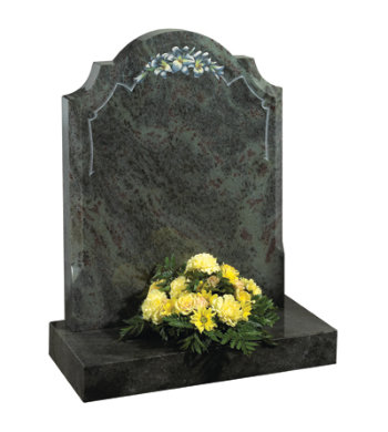 Imperial green granite headstone of centre round checked shoulder top with stylish chamfers.