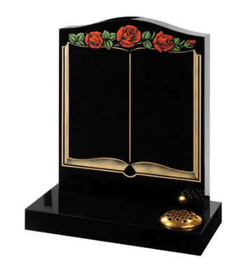 Black granite headstone of ogee shape with open book and rose design.