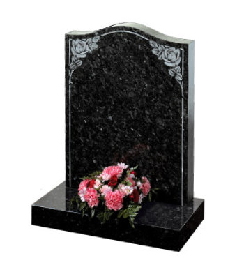 Emerald pearl granite headstone of ogee shape with shaded roses.