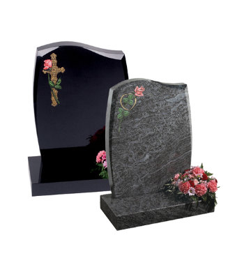 Black granite headstone with barrel sides and tapered chamfers.