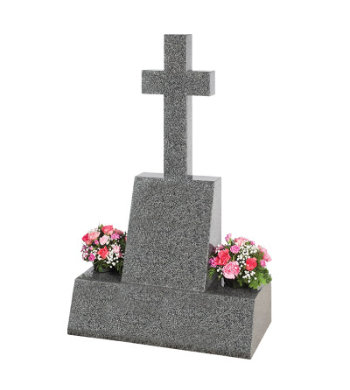 Impala grey granite headstone of traditional cross and die shape.