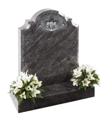 Lavender blue granite headstone of centre round check shoulder shape with chamfers.
