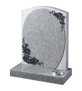 Indian light grey granite headstone with raised panel and carved roses.