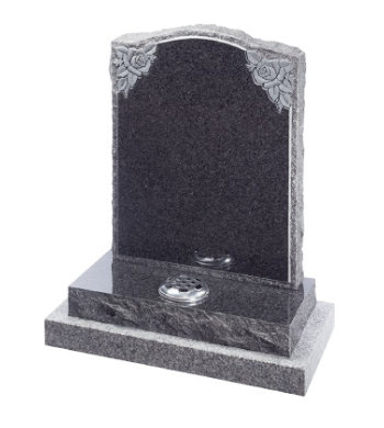 South African dark grey granite headstone with pitched back and sides, carved roses and on a granite sub base.