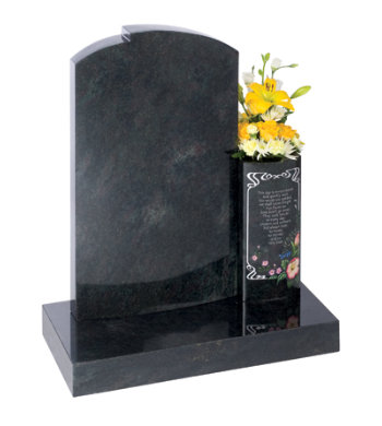 Imperial green granite headstone with tall vase.