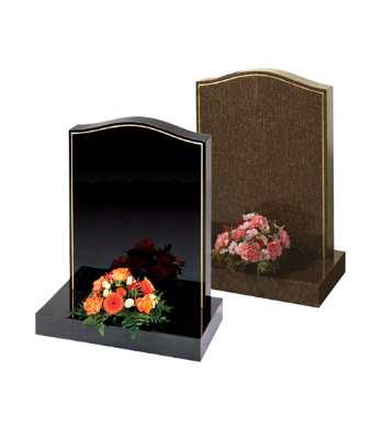 Black granite headstone of ogee shape with 10mm gilded pin line.